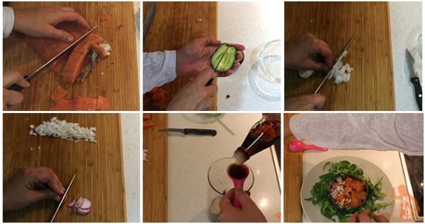 paso a paso de la ensalada de salmón con aguacate y salsa de eneldo