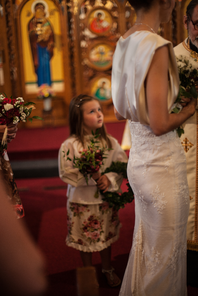 August Wedding, Ivory Silk and lace Custom made wedding gown, Marusya, Ukrainian Chapel, St. Michael's MIshawaka Indiana, poppies, flower girl