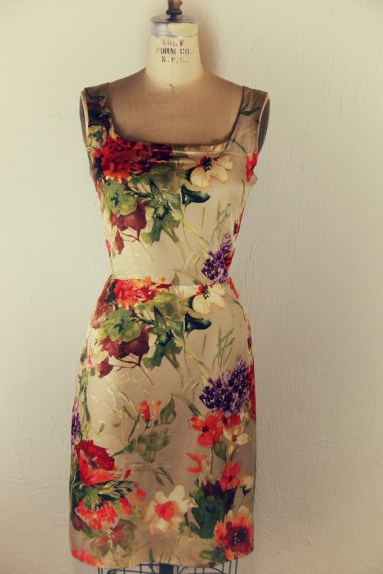 Floral silk wool shift dress marusya handmade by Designer