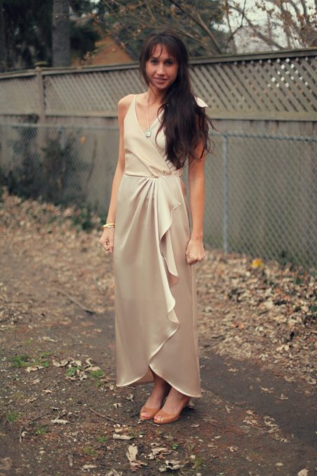 Burdastyle 157 05 2011 silk wool 25 champagne 2 long dress crossover