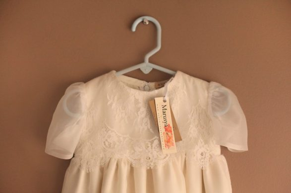 White Ivory, Chantilly Lace, Raw & Chiffon Silk, Custom Made & Handmade, Christening Baptismal Gown for a Christian Baby Baptism. Marusya- Ukrainian Seamstress