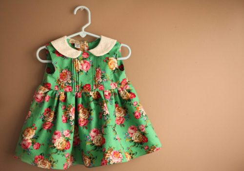 Ukrainian floral green girls dress with pin tucks peter pan collar
