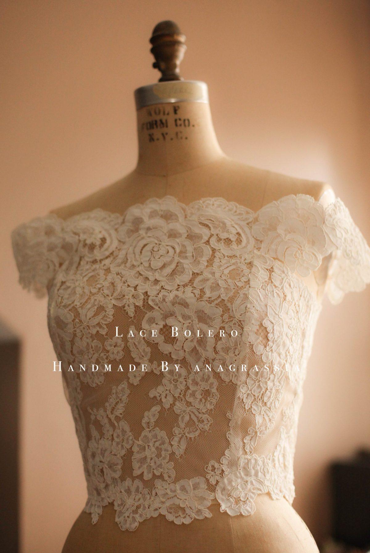 Alencon lace wedding dress bolero topper southern bride for White bolero for wedding dress