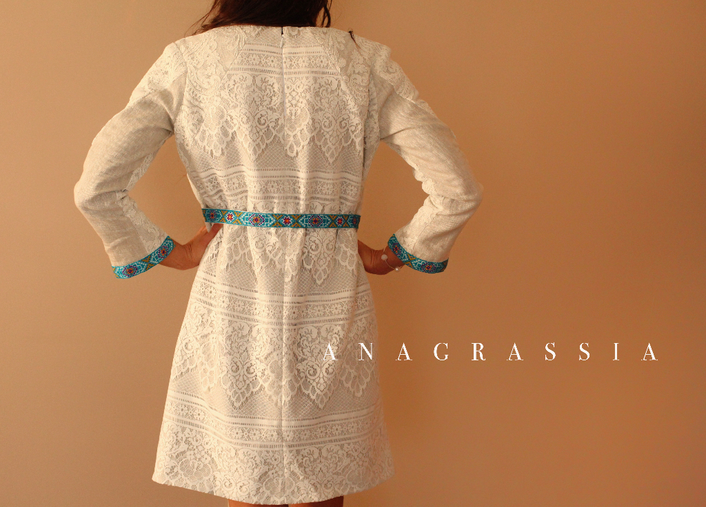 Ukrainian Inspired Color Block Embroidered Blue Purple Linen Lace Shift Dress for Easter handmade couture by Anagrassia Burdastyle 08/2015 #123 sewing pattern