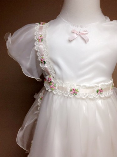 Handmade Silk White Pink Long Baptismal Christening Gown from grandmother wedding gown. Vintage, Anagrassia, custom made, Floral, flowers, ruffles, pinafore