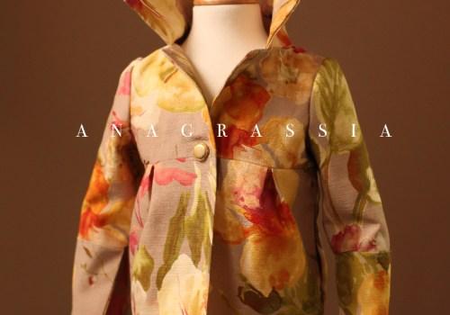 Floral Spring Easter Colorful Rose Jacket Coat Wide Collar Pockets Anagrassia Kids Children Fully Lined Cuffs Slit