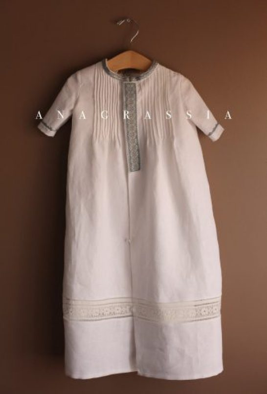 White Blue Linen Ukrainian Hand Embroidered Boys Male Baptismal Christening Gown Outfit; Mini Cassocks; Vintage, Marusya, Hand Made, Custom, Catholic, Orthodox