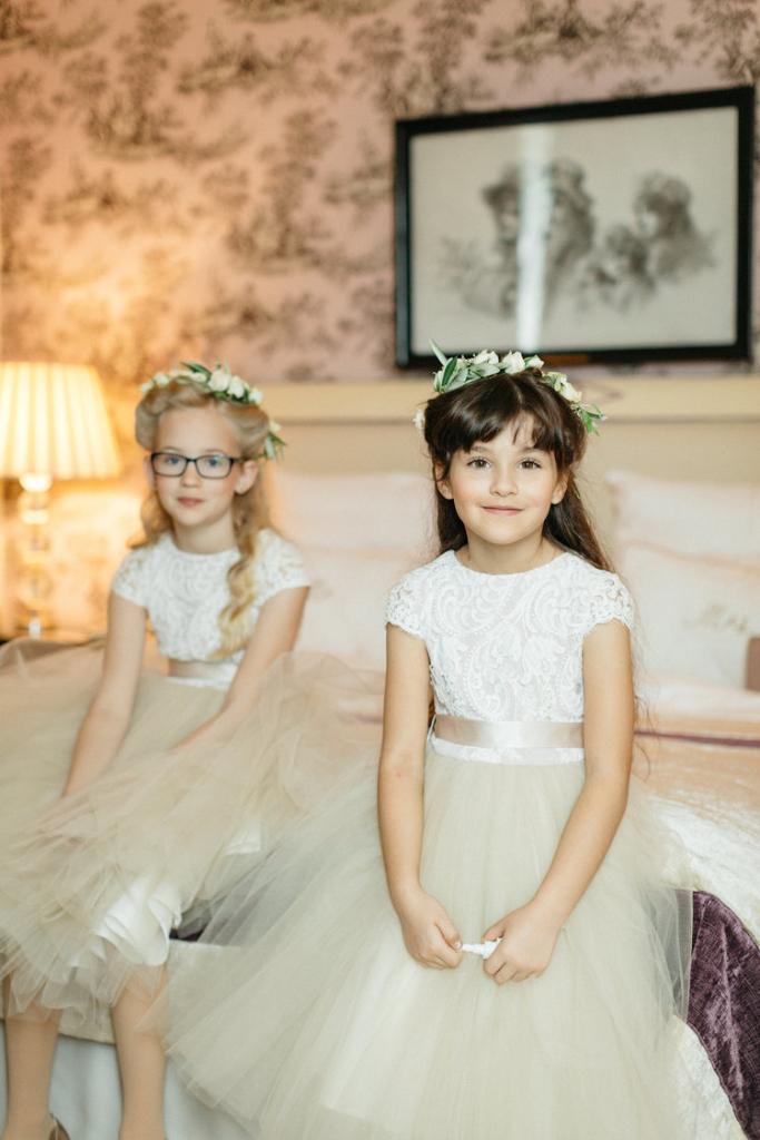 Ivory Satin Flower Girl Dresses