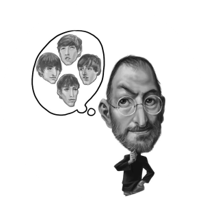 Steve Jobs caricature thinking about The Beatles