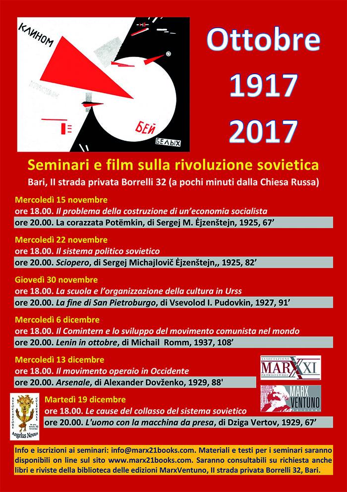 Locandina dei seminari e film sulla rivoluzione sovietica