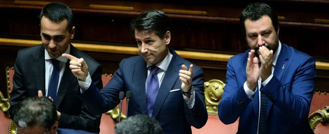 Foto con Giuseppe Conte, Luigi Di Maio e Matteo Salvini