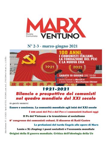 Copertina rivista MarxVentuno n. 2-3 del 2021 Bilancio e prospettive dei comunisti