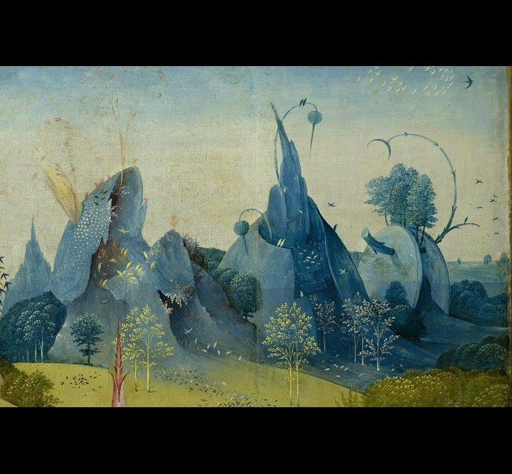 """Detail of mountains from Bosch's """"The Garden of Earthly Delights"""""""