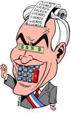 Presidente do Chile Sebástian Piñera - por Latuff