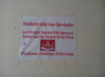 solidarity banner from Pashtoon students federation
