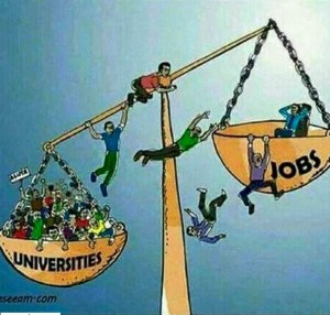universities vs jobs cartoon