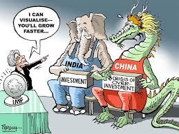 Indian vs Chinese Economy Cartoon