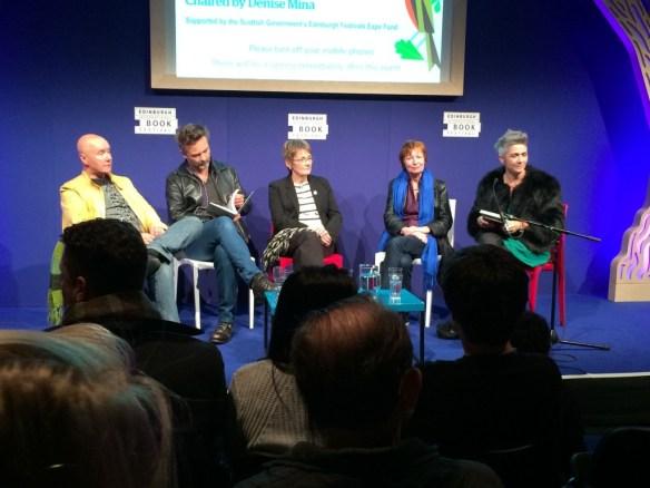 Left to right: Irvine Welsh, Barroux, Kate Charlesworth, Mary Talbot, Denise Mina