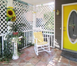 Sunflowers and Purple Asters in a Home Entrance. Aluminum prints of original paintings by the artist Mary Ahern