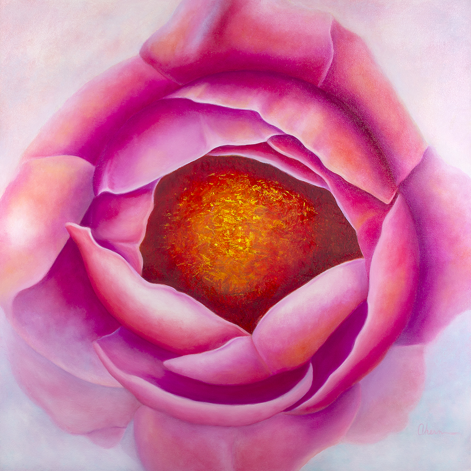 Centering - Pink Peony Squared. Original oil painting by Mary Ahern the artist.