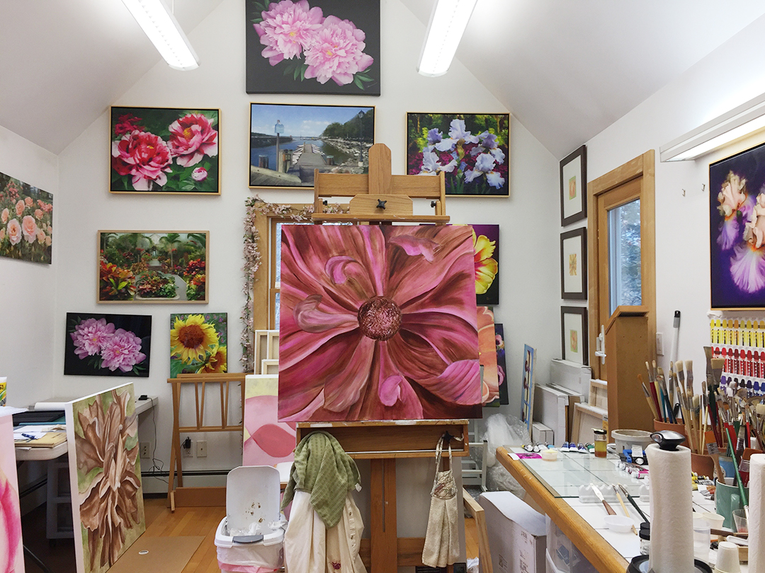 Florescent lighting fixture in the studio of Mary Ahern the Artist.
