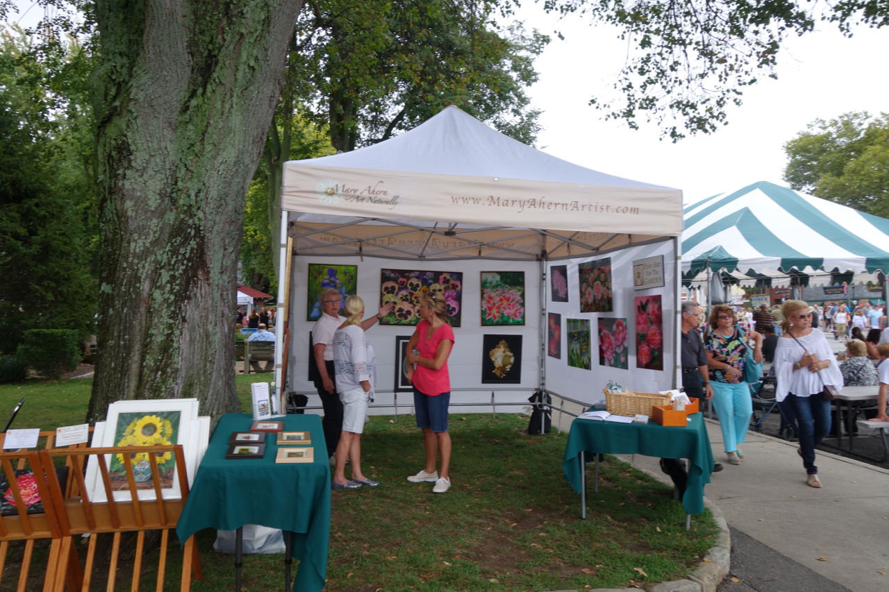 Mary Ahern Artist Northport Booth. Art for sale