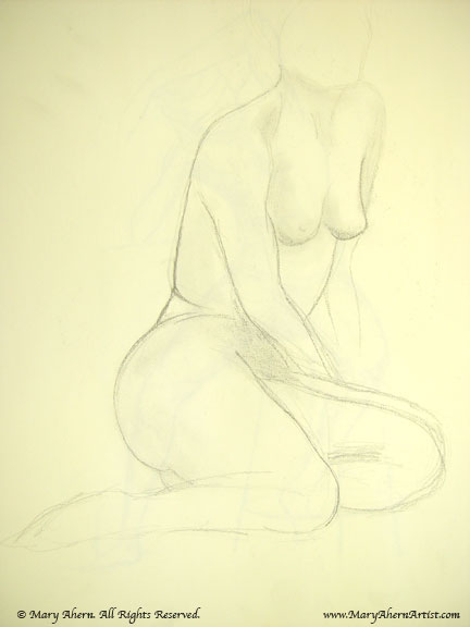 Seated figure in pencil on newsprint paper