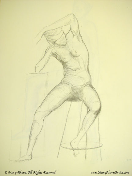 Leaning figure seated on stool drawing