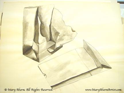 Kraft lunch bags - wash drawing