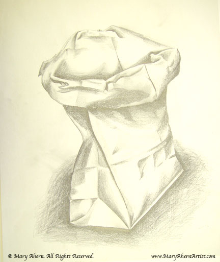 Folded brown garbage bag drawing