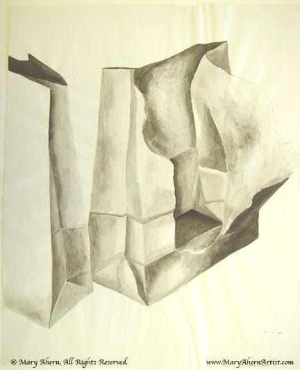 Brown bag wash drawing