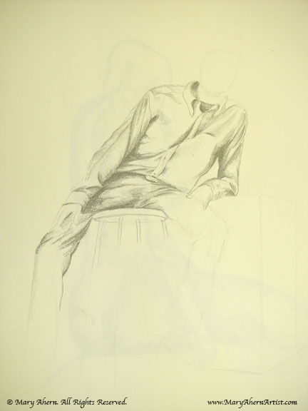 Life drawing with clothed figure in pencil on newsprint paper