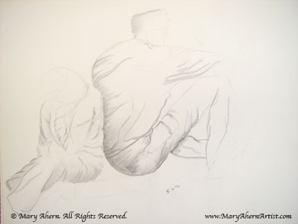 Two figure life drawing with pencil