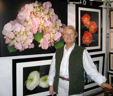 The Artist Mary Ahern with some of her Digital Paintings