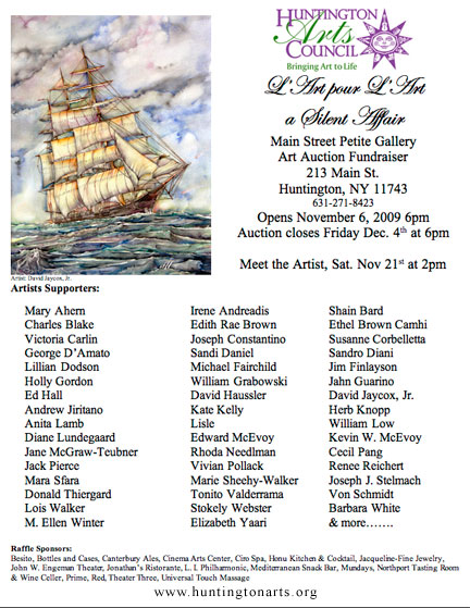 Poster for the L'Art Pour L'Art Silent Auction for the Huntington Arts Council