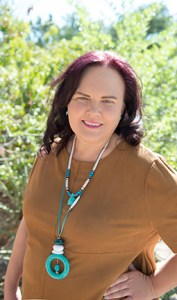 Reverend Marya OMalley wearing turquoise necklace