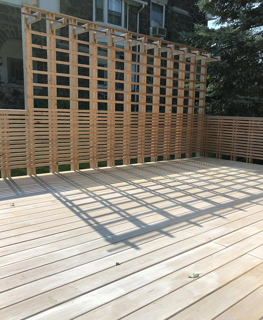 Custom cedar deck, plant basket wall.  Mary Cerrone Architects. Pittsburgh, PA.