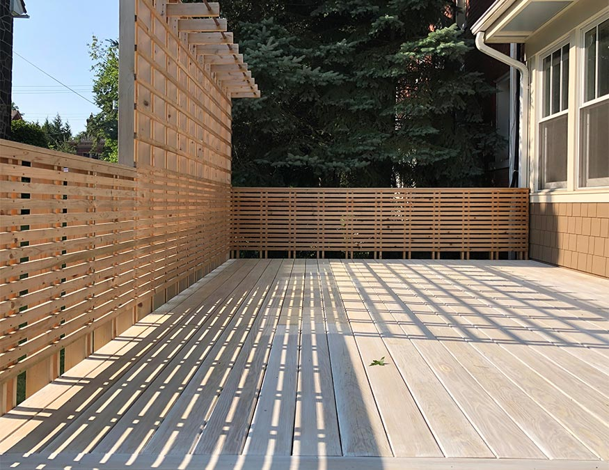 Custom cedar deck, deck shaows. Mary Cerrone Architects. Pittsburgh, PA.
