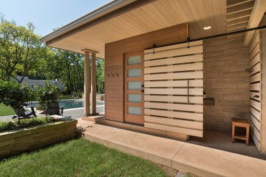 Pool Pavilion, Open Shower Facade. Mary Cerrone Architect, Shadyside, PA