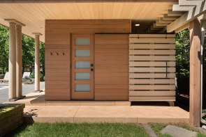 Pool Pavilion, Shower and Toilet Room Facade. Mary Cerrone Architect, Shadyside, PA