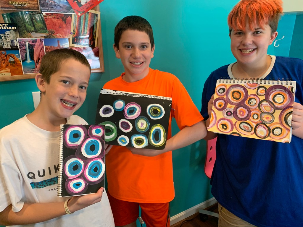 Mixed Media art in our Morning Time with older kids and teens.