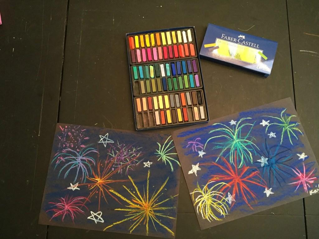 chalk pastel fireworks