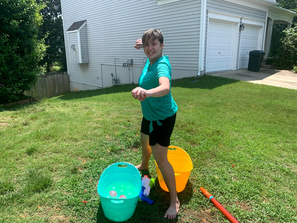 Water balloons are a perfect idea for a social distancing water game.