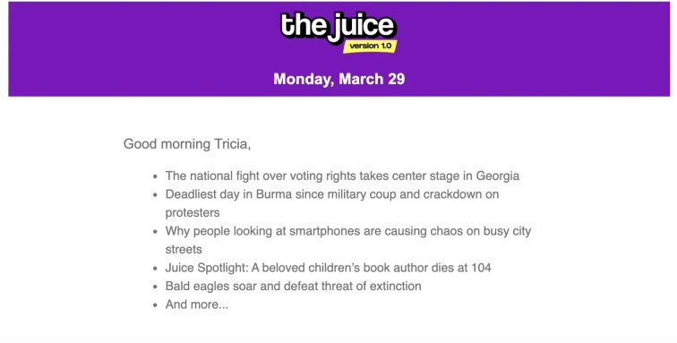 The Juice delivers current events for teens straight to their inbox each morning. Your teen learns independently with The Juice.