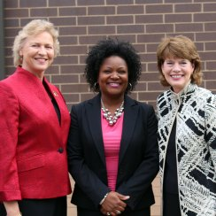 Judy Lambeth, Maryhurst CEO; Sadiqa Reynolds, Metro Louisville, Office of Mayor Fischer;and Madeline Abramson, long-time board member and Maryhurst advocate .