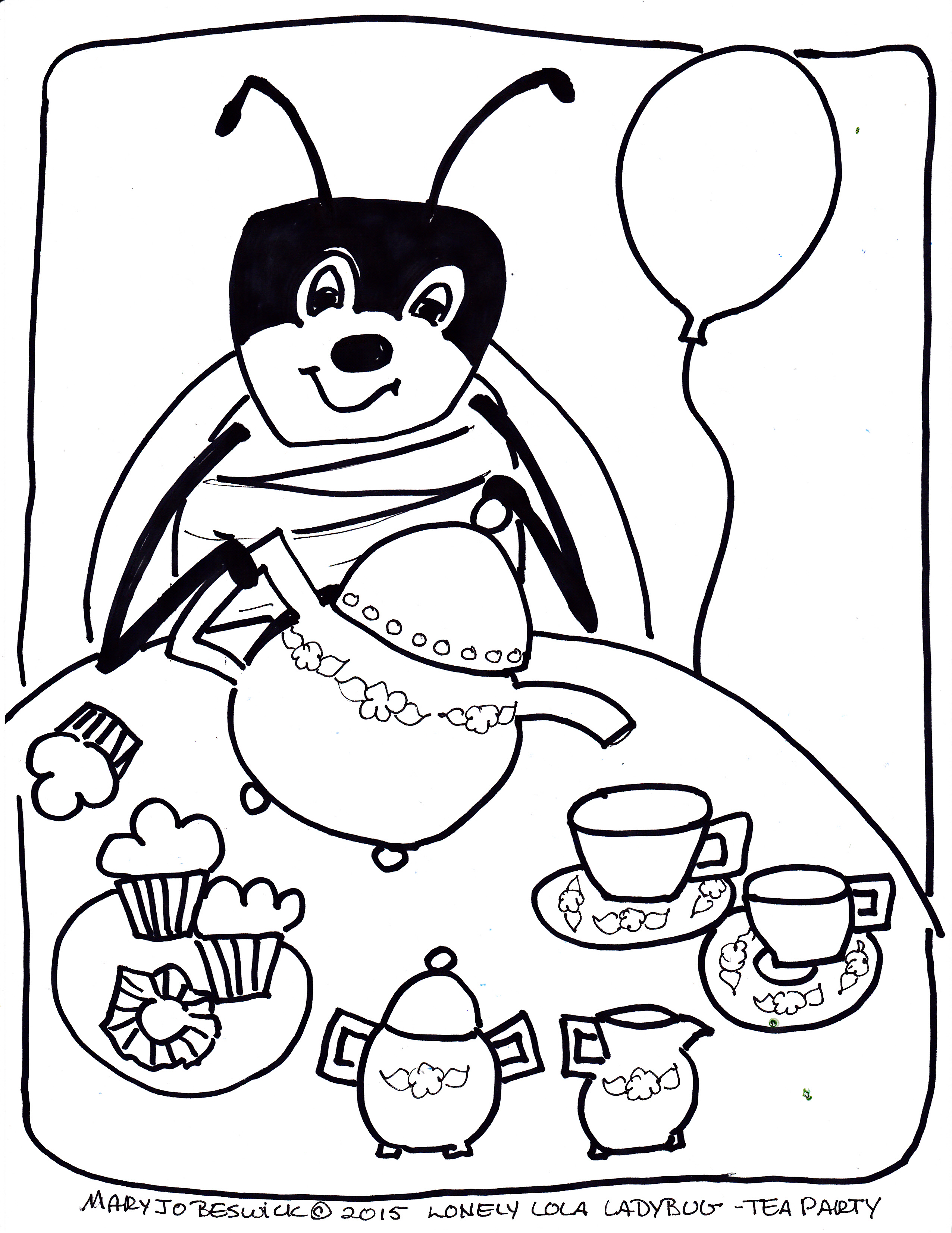 lola ladybug free coloring page tea party mary jo beswick