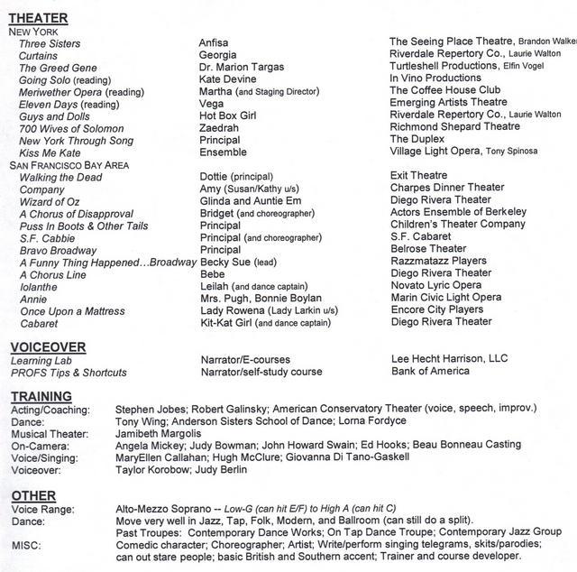 Musical Theatre Resume. Musical Theatre Resume Template Musical