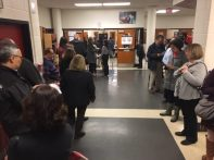 Voters in line at the Quince Orchard High School voting site. Photo by Bruce DePuyt