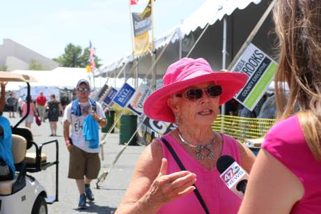 "Sen. Adelaide ""Addie"" Eckardt (R-Middle Shore) talks with a local television station at the Tawes Crab and Clam Feast."