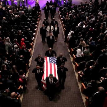Pallbearers carry the casket of the late U.S. Rep. Elijah Cummings during funeral services at New Psalmist Baptist Church in Baltimore. (AP Photo/Julio Cortez, Pool)